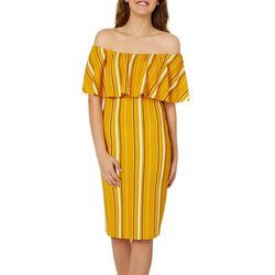 Almost Famous Juniors Striped Off The Shoulder Dress