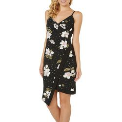 Almost Famous Juniors Floral Polka Dot Asymmetrical Dress