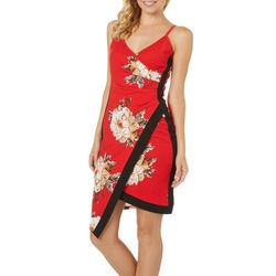 Almost Famous Juniors Trimmed Floral Asymmetrical Dress
