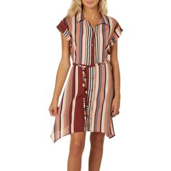 Almost Famous Juniors Striped Button Down Dress