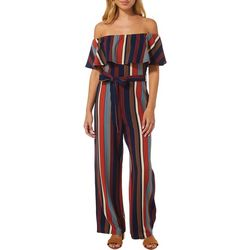 Almost Famous Juniors Striped Ruffled Neckline Jumpsuit