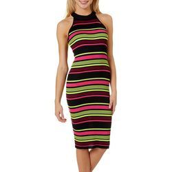 Almost Famous Juniors Ribbed Knit Stripe Sleeveless Dress