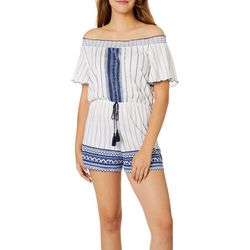 Almost Famous Juniors Printed Off The Shoulder Tassel Romper