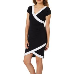 Almost Famous Juniors Colorblock Asymmetrical Sheath Dress