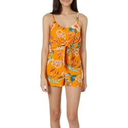 Almost Famous Juniors Tropical Floral Tie Front Romper
