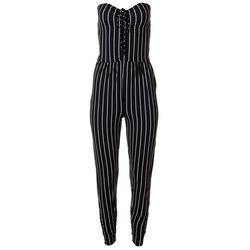 Juniors Striped Halter Sleeveless Jumpsuit