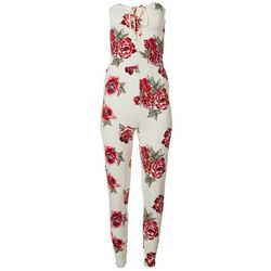 Juniors Floral Halter Sleeveless Jumpsuit