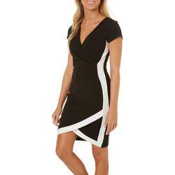 Juniors Colorblock Striped Asymmetrical Dress