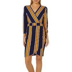 Almost Famous Juniors Mixed Stripe Faux-Wrap Dress