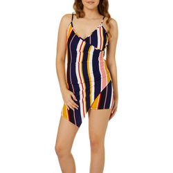 Almost Famous Juniors Striped Faux-Wrap Romper