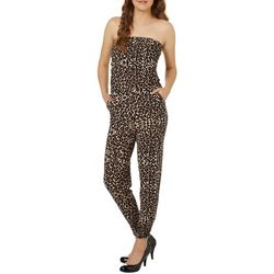 Almost Famous Juniors Leopard Print Strapless Jumpsuit