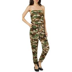 d16b954ff006 Almost Famous Juniors Camo Strapless Ruched Hem Jumpsuit