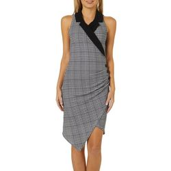 Almost Famous Juniors Houndstooth Asymmetrical Blazer Dress