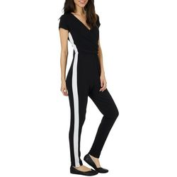 Almost Famous Juniors Solid Side Stripe Tapered Leg Jumpsuit