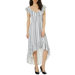 Almost Famous Juniors Ruffled Geo Striped High-Low Dress