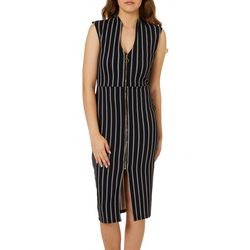Almost Famouns Juniors Striped Zip Front Sheath Dress