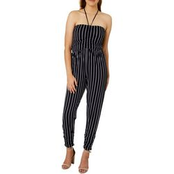 Almost Famous Juniors Pinstriped Ruched Halter Jumpsuit