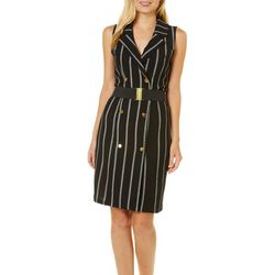 Almost Famous Juniors Stripe Button Belted Blazer Dress