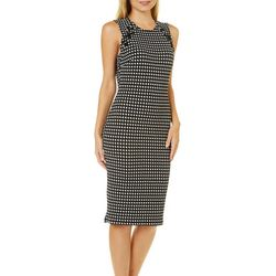 Almost Famous Juniors Houndstooth Lace-Up Dress