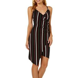 Almost Famous Juniors Striped Asymmetrical Sleeveless Dress