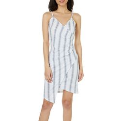 Almost Famous Juniors Pinstripe Asymmetrical Dress