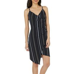 Almost Famous Juniors Stripe Polka Dot Asymmetrical Dress