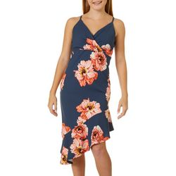Almost Famous Juniors Floral Asymmetrical Dress