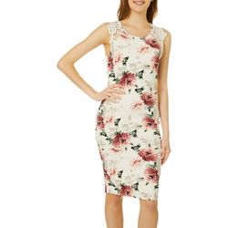 Juniors Sleeveless Floral & Lace Sheath Dress