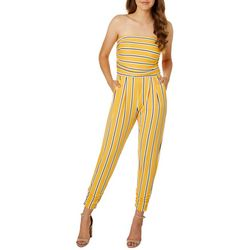 Full Circle Trends Juniors Pinstripe Ruched Ankle Jumpsuit