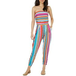 Full Circle Trends Juniors Striped Ruched Ankle Jumpsuit