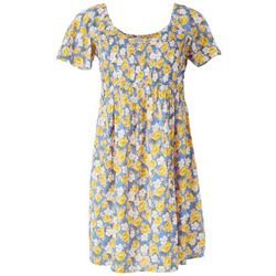 Full Circle Short Sleeve Tshirt Dress Smocked