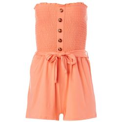 Juniors Solid Smocked Strapless Romper