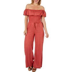 Full Circle Trends Juniors Solid Flutter Sleeve Jumpsuit