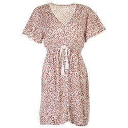 Jolie & Joy Juniors Elastic Waistline Floral Casual Dress