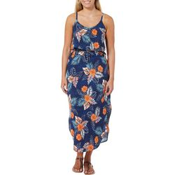 Full Circle Trends Juniors Leopard Floral Print Maxi Dress