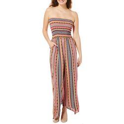Full Circle Trends Juniors Geo Striped Strapless Jumpsuit