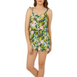 Full Circle Trends Juniors Tropical Floral Ruffle Romper