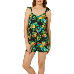 Full Circle Trends Juniors Tropical Pineapple Ruffle Romper