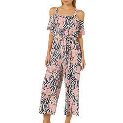 Full Circle Trends Juniors Floral Zebra Print Capri Jumpsuit