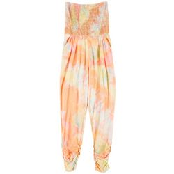 Full Circle Trends Juniors Tie Dye Smocked Jumpsuit