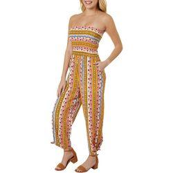 Juniors Tie Dye & Stripes Jumpsuit