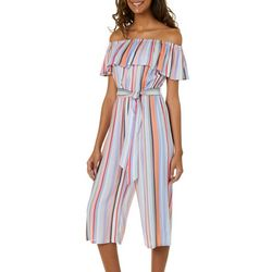 Live 4 Truth Juniors Off The Shoulder Striped Capri Jumpsuit