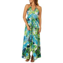 Live 4 Truth Juniors Tropical Palm Halter Maxi Dress