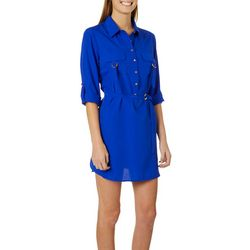 Live 4 Truth Juniors Solid Roll Tab Belted Dress