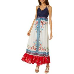 Coco & Jamieson Juniors Floral Print Crochet Maxi Dress