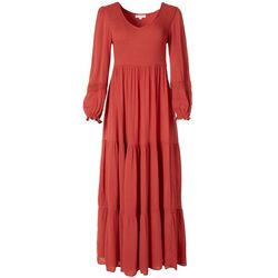 Coco & Jamieson Womens Smocked Long Sleeve Maxi Dress