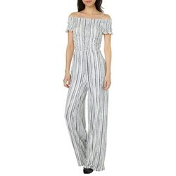 Polly & Esther Juniors Off The Shoulder Striped Jumpsuit