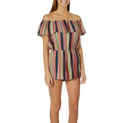 Polly & Esther Juniors Stripe Ruffle Off The Shoulder Romper