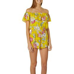 Polly & Esther Juniors Floral Ruffle Off The Shoulder Romper