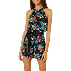 Juniors Tropical Hibiscus Print Romper